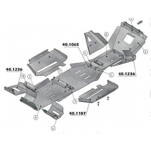 Защита днища для Yamaha Grizzly 660 (нержавейка)...