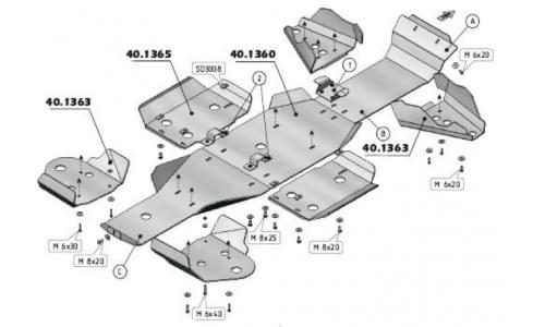 Комплект защиты днища для Kawasaki BruteForce KVF 750 от 2006-2012