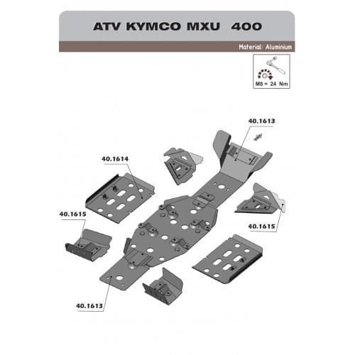Комплект защиты днища для Kymco MXU 400...
